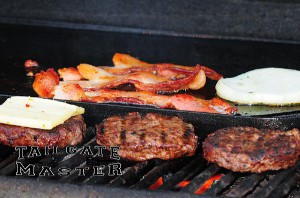skillet on the grill