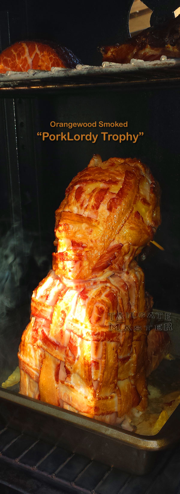 Super Bowl Sunday party centerpiece mmmmm bacon wrapped ham and pineapple