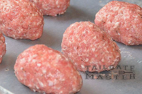 hard boiled eggs wrapped in pork sausage for scotch eggs