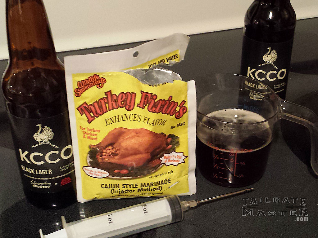 The Chive Beer Injection Marinade for turkey - KCCO - turkey in the smoker starts with good beer