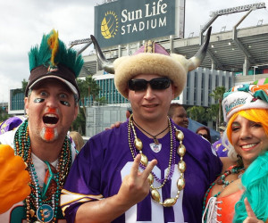 dolphins and vikings fans at sun life stadium miami florida