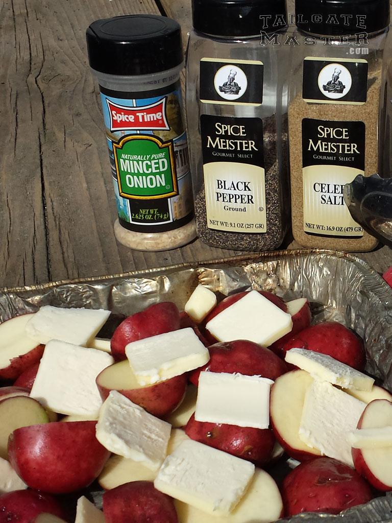 onion, black pepper, celery salt on grilled potatoes