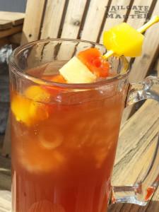 Tropical Osborn with pineapple mango rum, strawberry lemonade and coconut rum