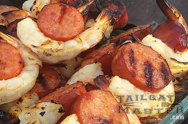 pork sausage shrimp kababs