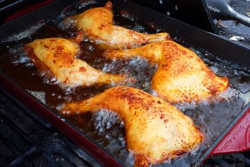 fried chicken on the gas grill