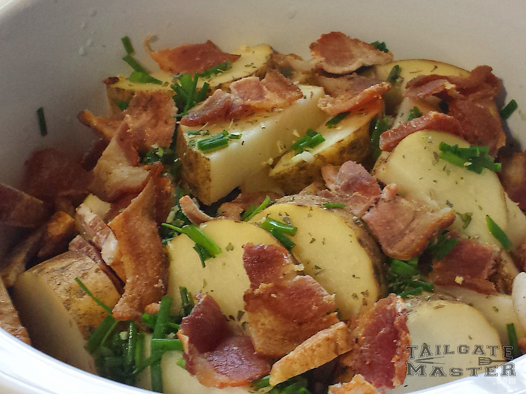 bacon and chives on slow cooker potatoes