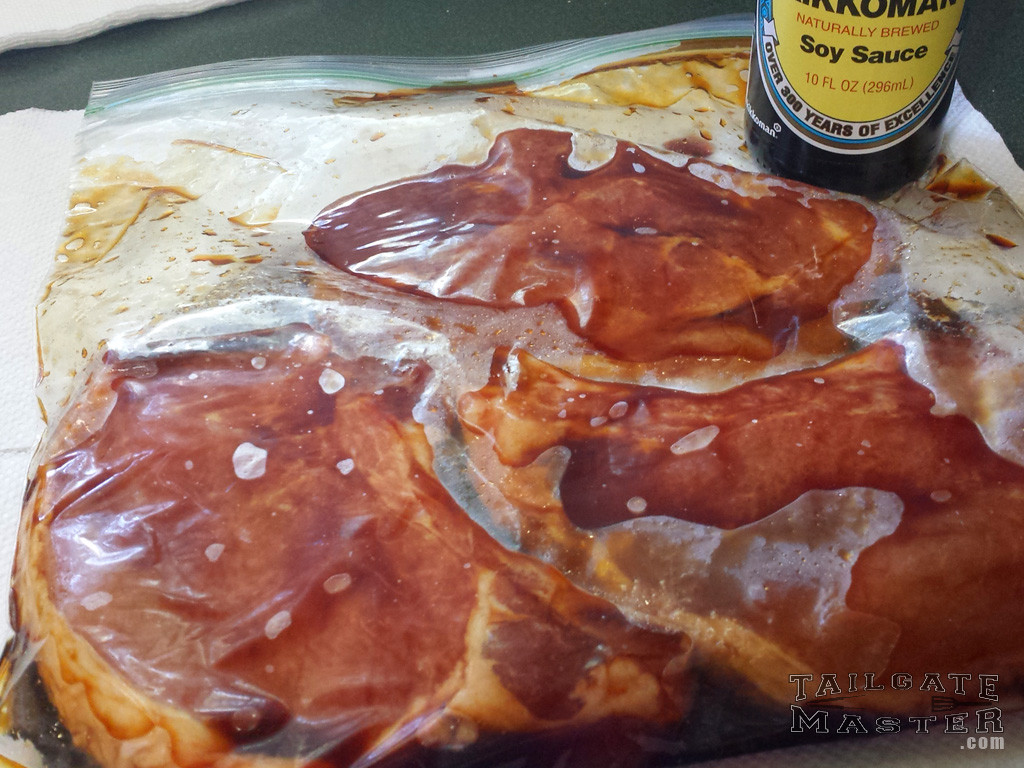cover porkchops and marinade with soy sause