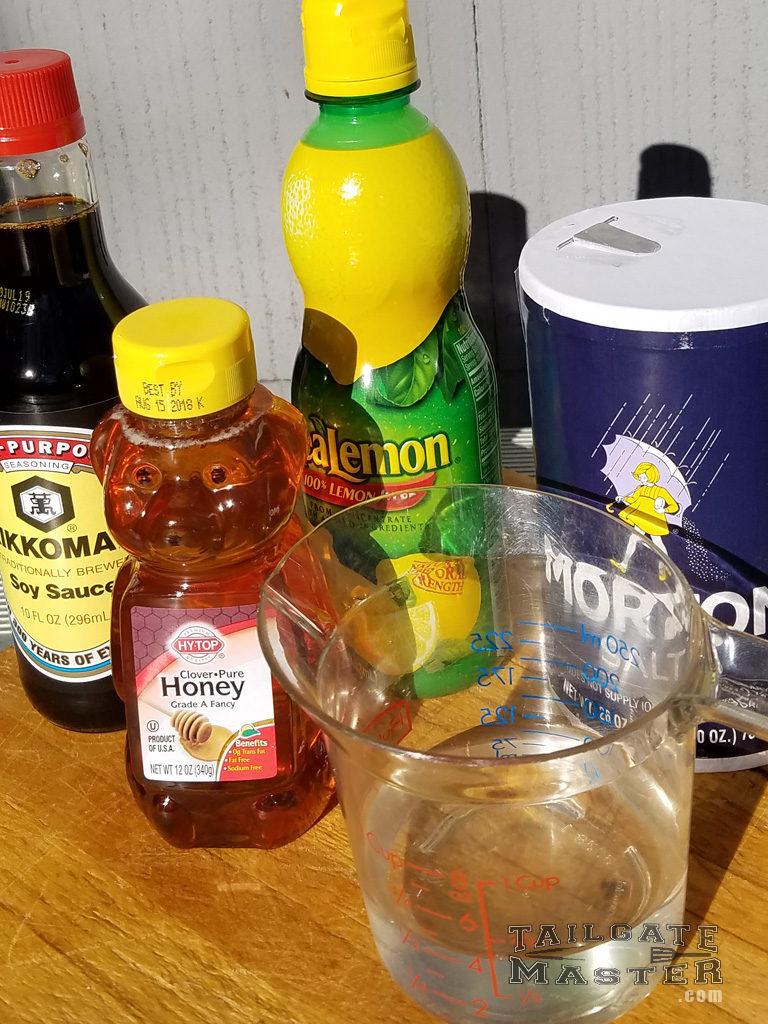 Soy Sauce, Lemon Juice, Honey, Water and Salt