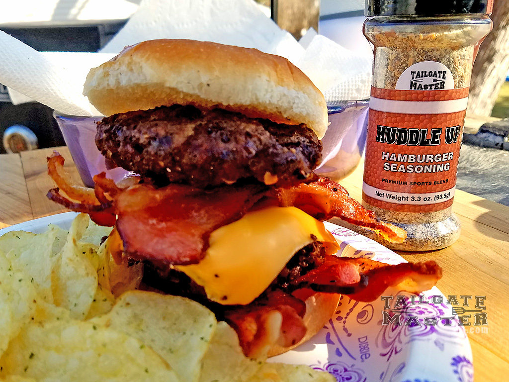 huddle up goes great on bacon cheese burgers spices make the burger