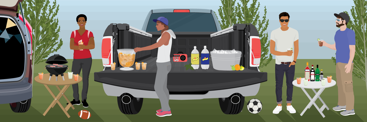 Tailgating with drinks