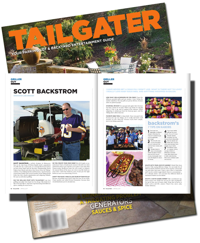 Scott Backstrom featured griller guy on Tailgater magazine