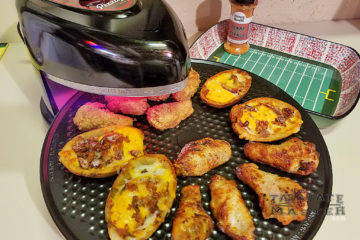 Making potato skins and chicken wings with the Pizzazz plus rotating pizza oven gets a tailgate review.