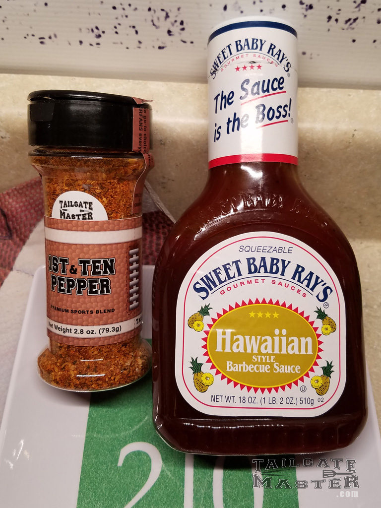 tailgate master premium sports spices and Hawaiian pineapple bbq barbecue sauce