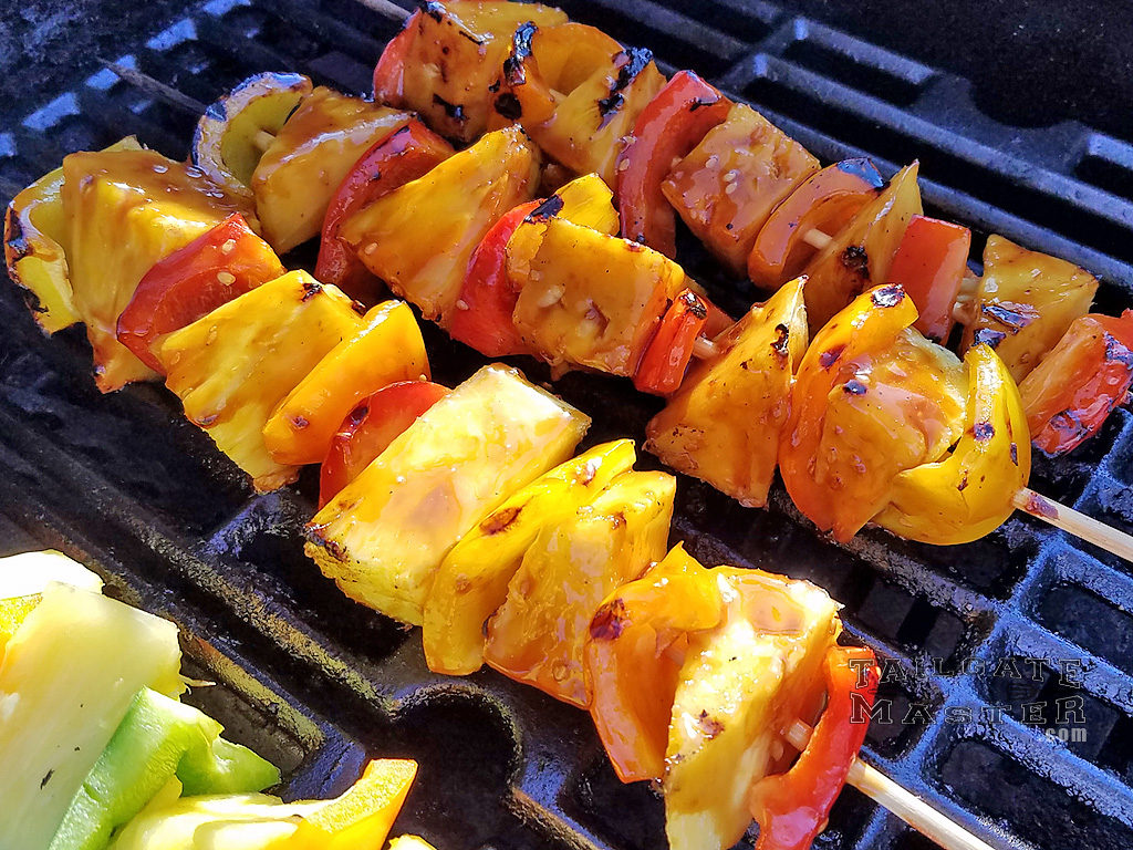 grilled asian fruit and pepper kabobs