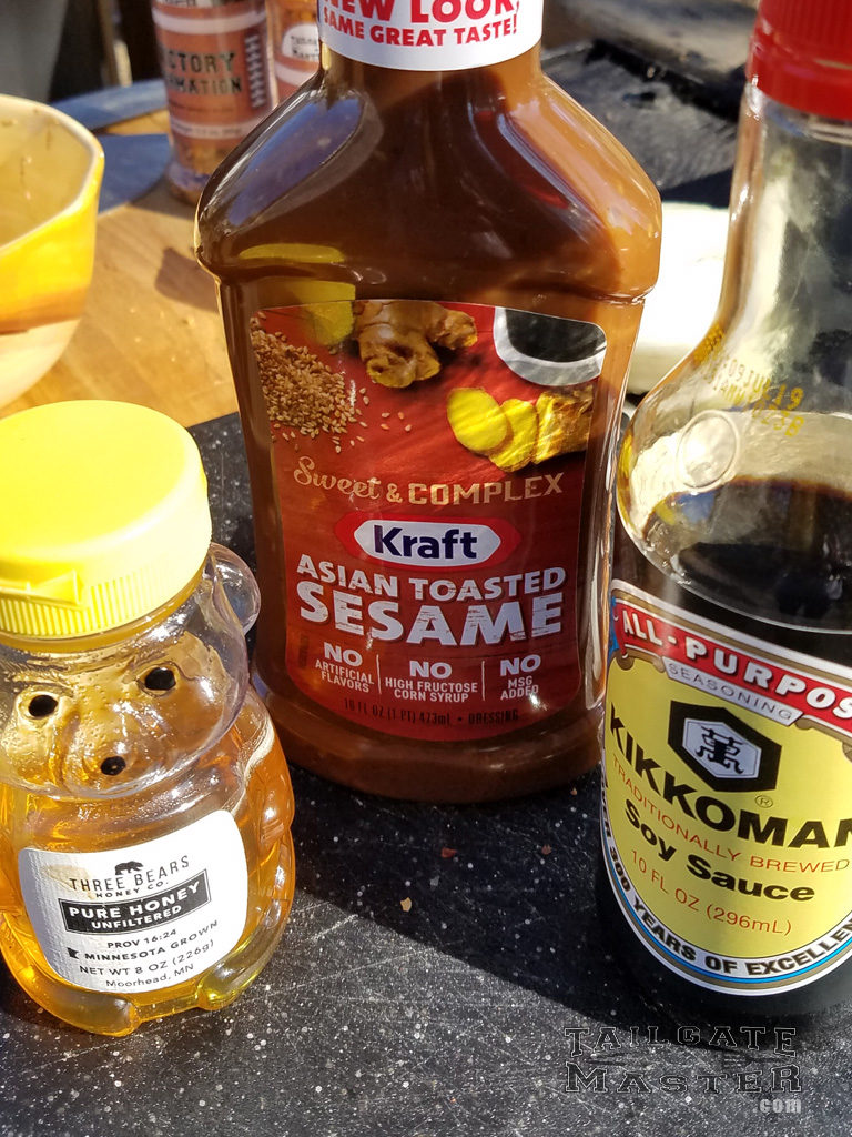 Kraft Asian Toasted Sesame Sauce, Kikkoman Soy Sauce, and honey from a bear