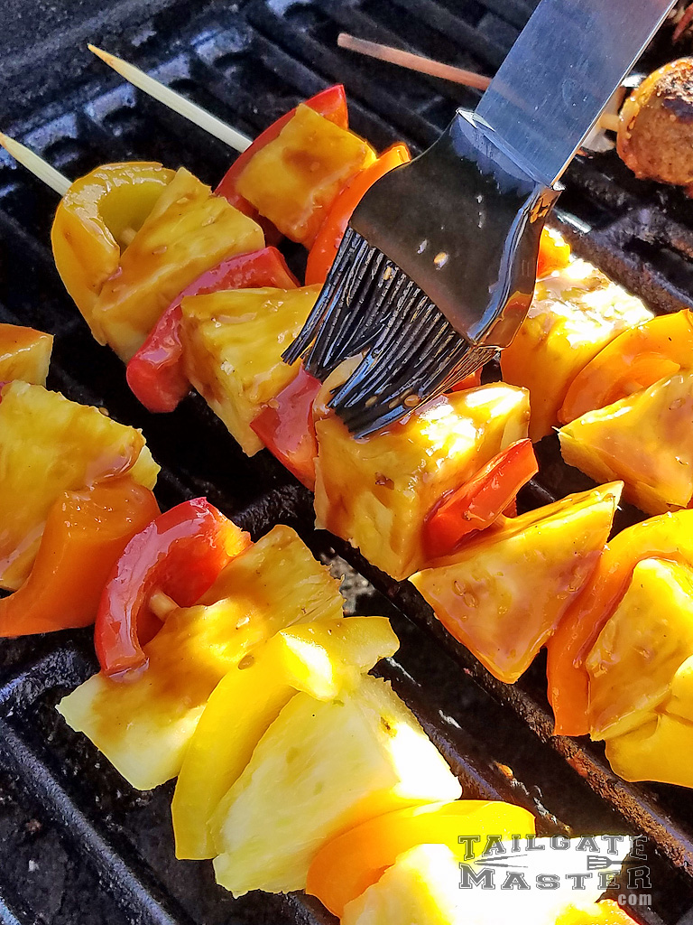 asian glaze on grilled fruit and vegetables grilling
