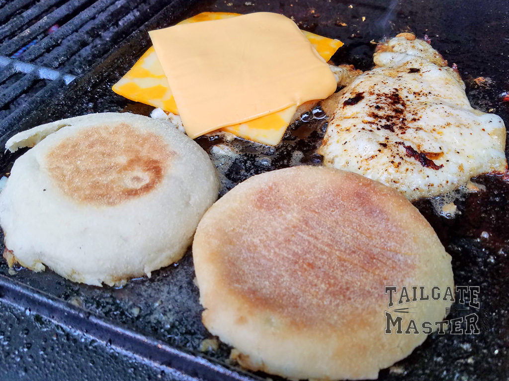 eggs frying on a skillet tailgate recipe on game day football