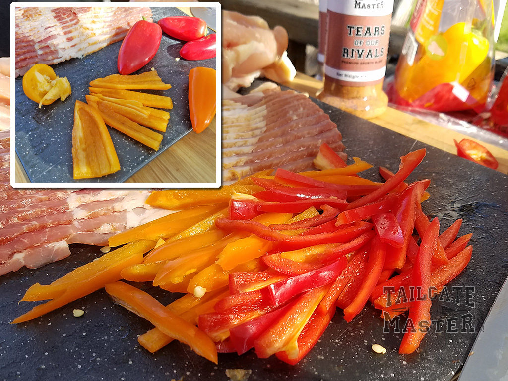 chopping sweet peppers for grilling