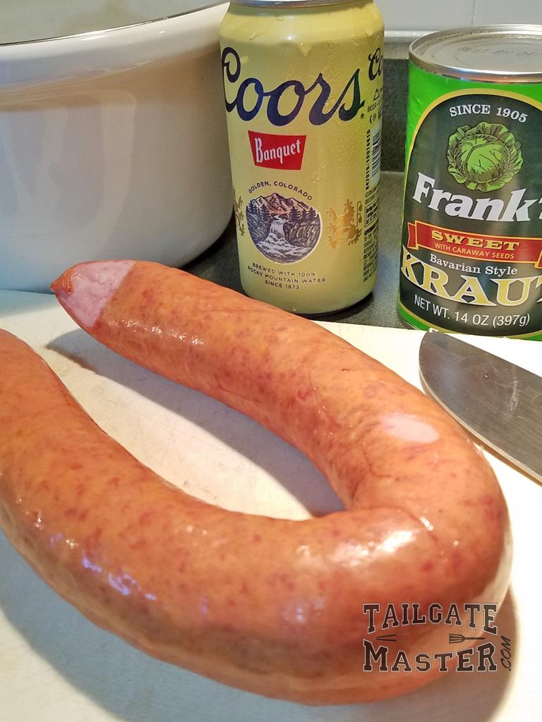 kelbasa sausage sour kraut and coors banquet beer