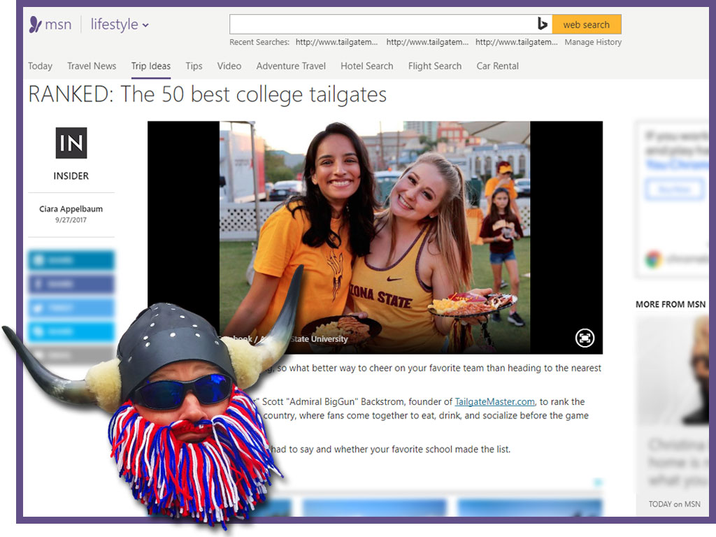 Tailgate Master and Admiral BigGun were featured on MSN - The top 50 best college tailgates as ranked by TailgateMaster