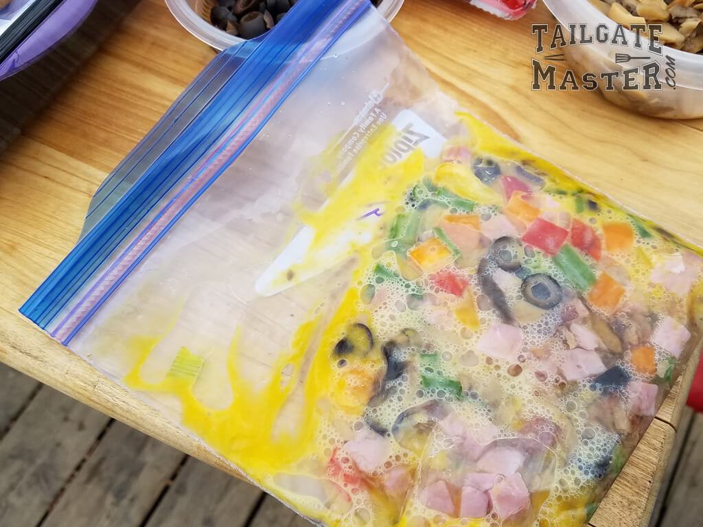 small ziplock freezer bags work best, zip-loch bags, zip-lock baggies omelet in a bag recipe the easy way on a gas grill