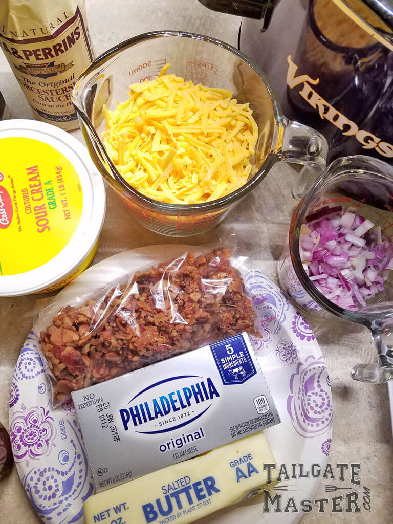 cream cheese, cheddar cheese, bacon, purple onions and more bacon