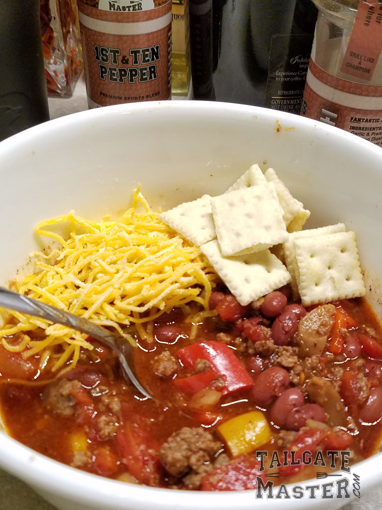 football chili with cheese in the crock pot
