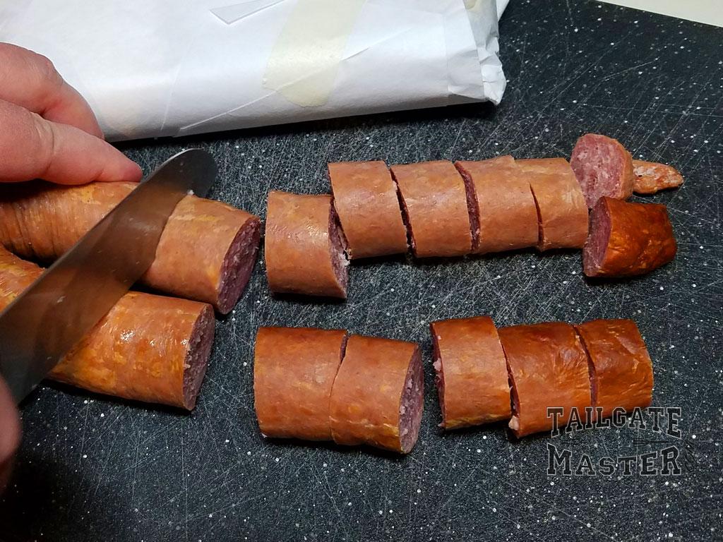 cut sausage into bite size chunks