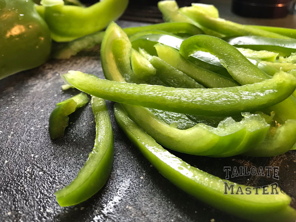 sliced green pepper for philly cheese steak