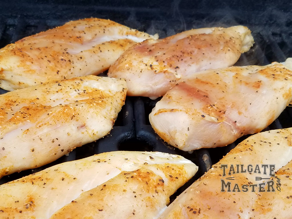 grilled chicken breasts half cooked
