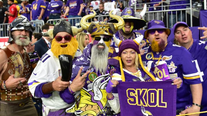 Vikings vs Atlanta - Members of the Viking World Order fan club pose for a photo before the start of an NFL football game against the Atlanta Falcons at U.S. Bank Stadium in Minneapolis on Sunday, Sept. 8, 2019. (John Autey / Pioneer Press)