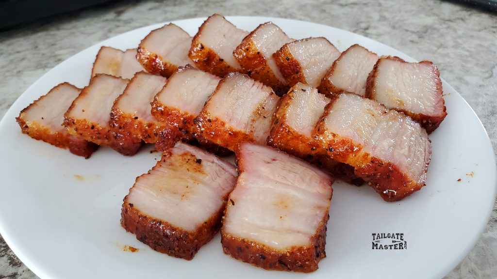 pork belly recipe perfectly cooked in a gas smoker