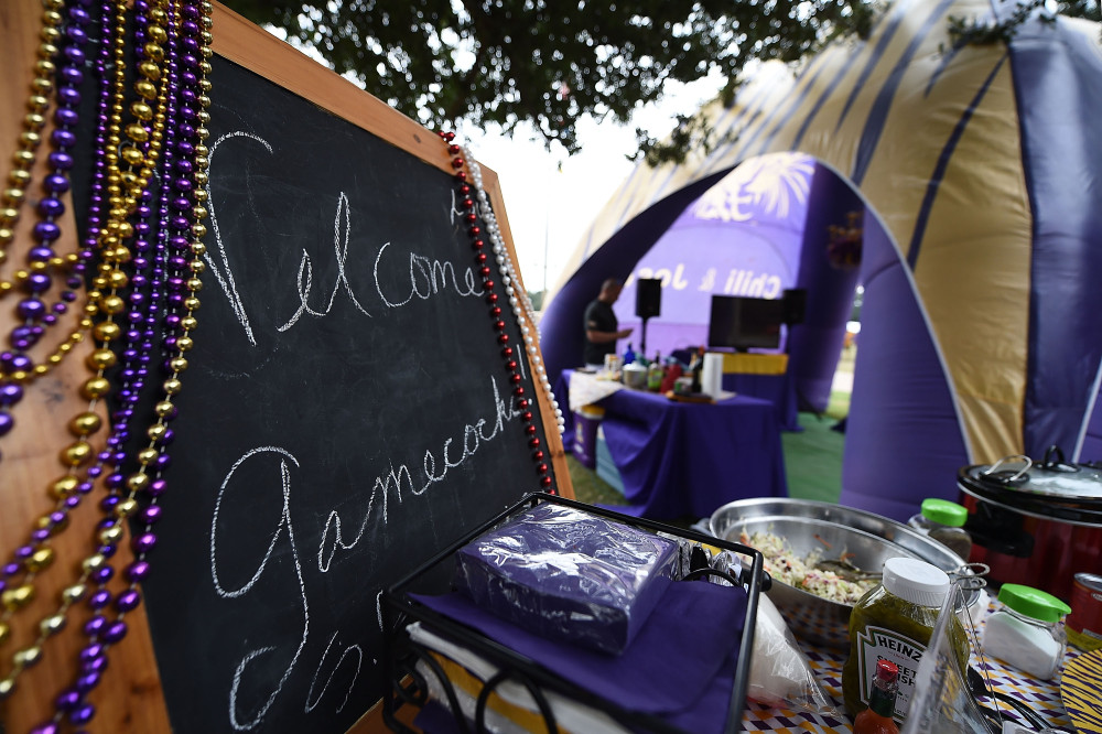 BATON ROUGE, LA - OCTOBER 10:  A sign welcoming fans of the South Carolina Gamecocks is seen at a tailgate party prior to a game between the South Carolina Gamecocks and the LSU Tigers at Tiger Stadium on October 10, 2015 in Baton Rouge, Louisiana.  The game is being played in Baton Rouge due to the flooding in South Carolina.