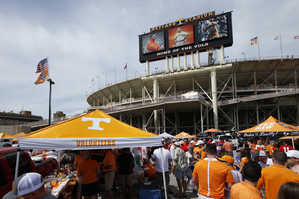 KNOXVILLE, TN - SEPTEMBER 30: General view as fans tailgate prior to the game between the Georgia Bulldogs and Tennessee Volunteers at Neyland Stadium on September 30, 2017 in Knoxville, Tennessee.