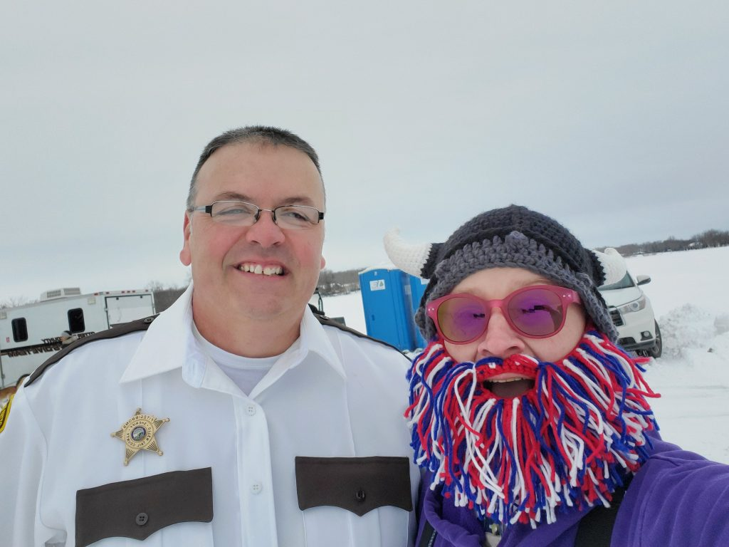 Otter Tail County Sheriff Barry Fitzgibbons and Admiral BigGun right before the Plunge