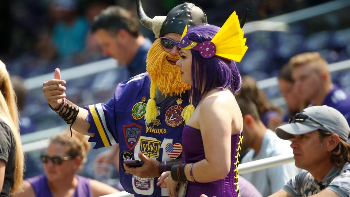 Admiral BigGun Vikings fans view a preseason game between the Minnesota Vikings and the Denver Broncos. Aug 14th, 2021.