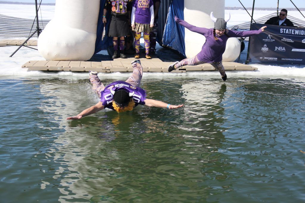 Superfan Admiral BigGun polar plunge for special Olympics, 2021 in Otter Tail County, MN